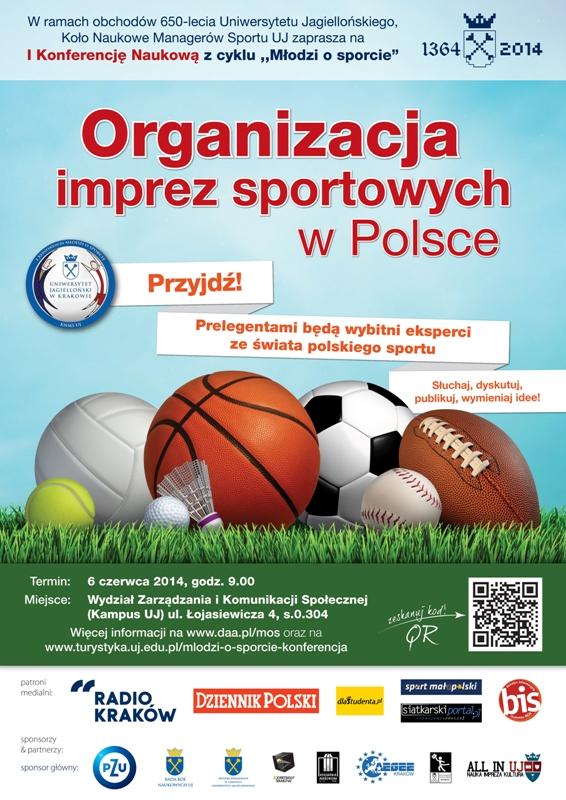 Plakat MOS 2014 – zarządzanie sportem: organizacja imprez sportowych w Polsce – konferencja organizowana przez studentów UJ